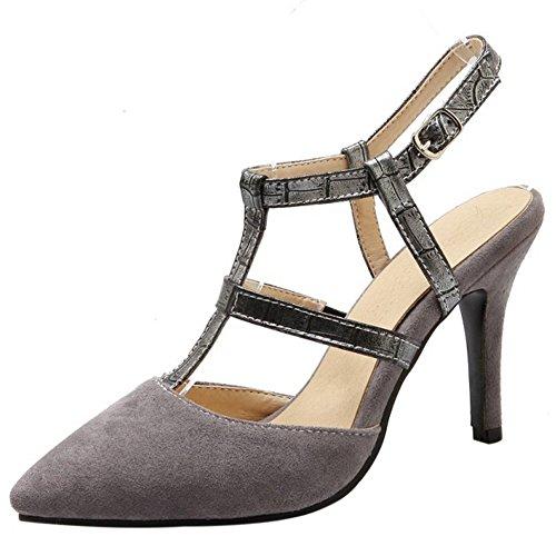 COOLCEPT Mujer Moda Correa en T Sandalias Tacon de Aguja Boca Baja Cerrado Slingback Zapatos Grey