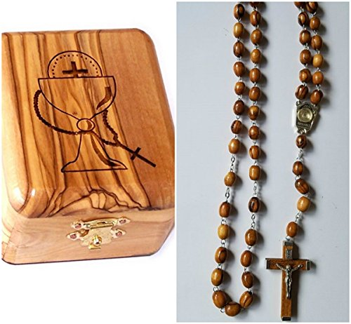 First Holy Communion Jewelry (Bethlehem Gifts TM Olive Wood First Communion Jewelry Box with Rosary Set by (Water Wooden Crucifix))
