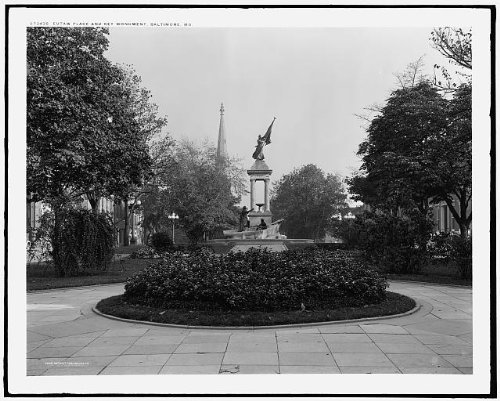 Photo: Eutaw Place,Francis Scott Key Monument,plazas,statue,Baltimore,Maryland,MD,c1910