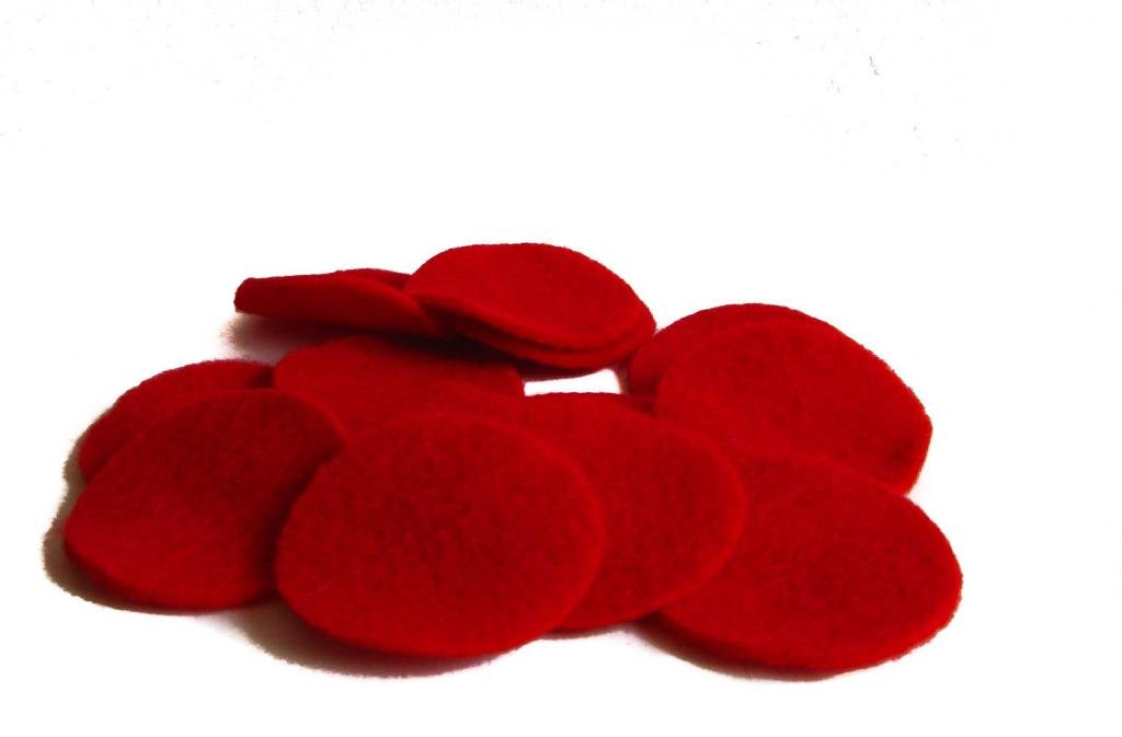 Precut for DIY Craft Projects 1 inch Nakpunar 100 pcs 1 Red Felt Circles