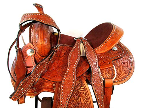 (15 16 Barrel Racing Trail Pleasure Floral Tooled Leather Western Horse Saddle (16))