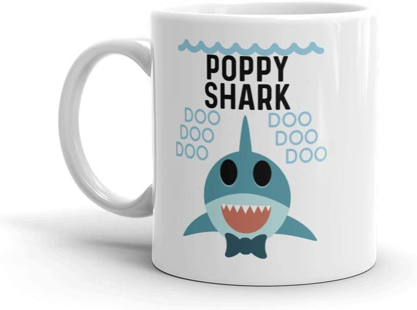 """Shark Poppy"" Ceramic Coffee Mug/Cup — Birthday Father's Day Christmas For Dad Father Grandpa"