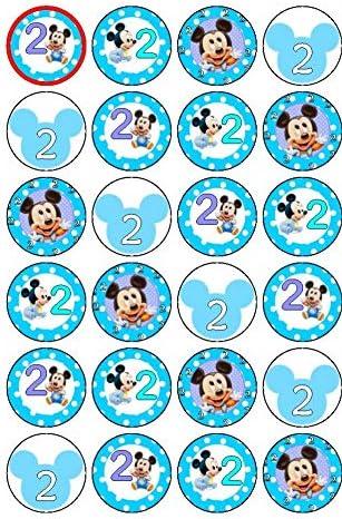 Essbare Cupcake-Dekoration für den 2. Geburtstag, Baby, Mickey, 3,8 cm, 24 Stück