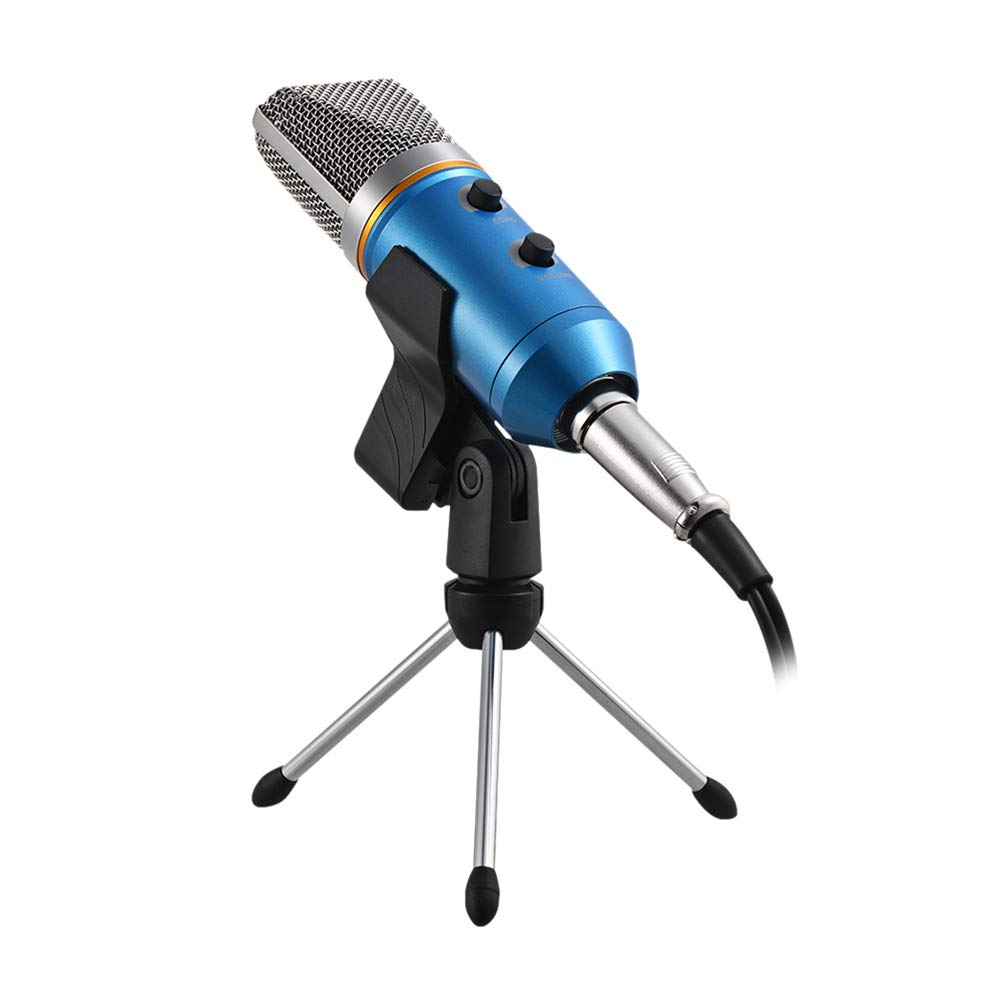 Healifty Condenser Microphone Studio Sound Recording Broadcasting with Shelf and Reverberation Echo Function (Blue)