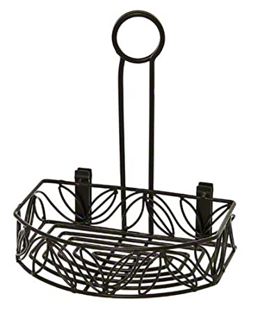 american metalcraft crl86 wrought iron semiround condiment caddy wleaf design - Condiment Caddy