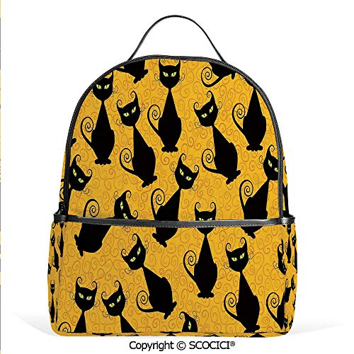 Lightweight Chic Bookbag Black Cat Pattern on Orange Background Halloween Witch Pet Graphic Decorative,Black Orange,Satchel Travel Bag Daypack]()