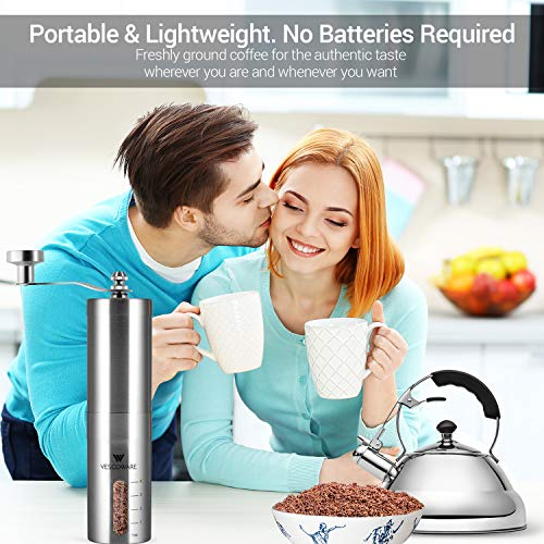 Manual Coffee Grinder with Conical Burr  Hand Mill with Adjustable Setting  Portable Burr Coffee