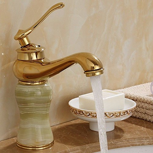 golden Green Hlluya Professional Sink Mixer Tap Kitchen Faucet Mix the water jade antique gold Copper faucet, pink gold