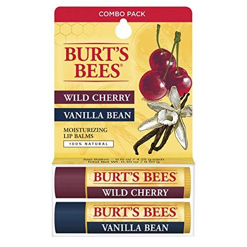 Burt's Bees 100% Natural Moisturizing Lip Balm, Wild Cherry and Vanilla Bean - 2 Tubes