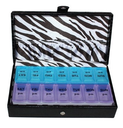 14 Day Black Croc Large Pill Box Zebra Lining Storage Organizer Weekly Vitamins Travel Pillbox