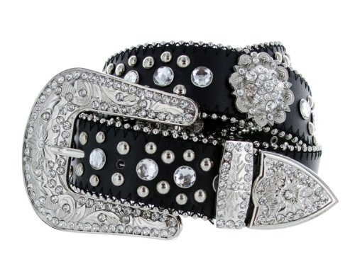 Ladies Fashion Studded Western Crystal Berry Rhinestone Bling Cowgirl Leather Belt ()