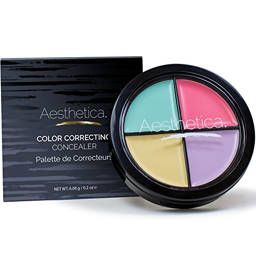 Aesthetica Color Correcting Cream Concealer Palette - Conceals Blemishes/Imperfections - Includes Green, Purple, Yellow, Salmon Color Correctors