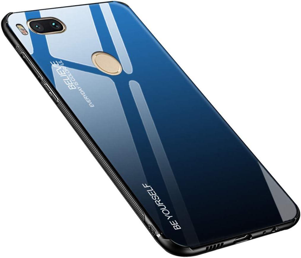 Funda para Xiaomi Mi A1, Xiaomi Mi 5X, Funda para teléfono móvil, Cristal Templado con Marco de Silicona TPU Suave, Color Degradado, Funda Protectora para Xiaomi Mi A1 / Mi 5X