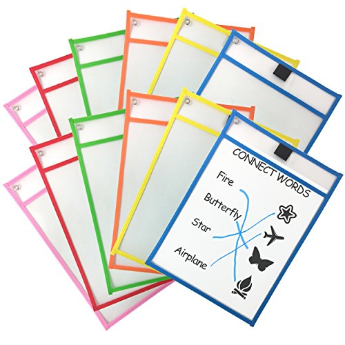 Clipco Dry Erase Pocket Sleeves Assorted Colors (12-Pack) by Clipco