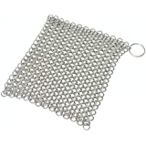 Mythrojan Chainmail Scrubber Stainless Steel Skillet Pan Griddle Cleaning Scrubber with Hanging Ring