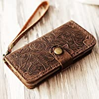 Genuine Italian Leather Case for Iphone 6 PLUS / iPhone 6s PLUS Leather Wallet Case Handmade Wristlet Cover Tooled Flower Brown