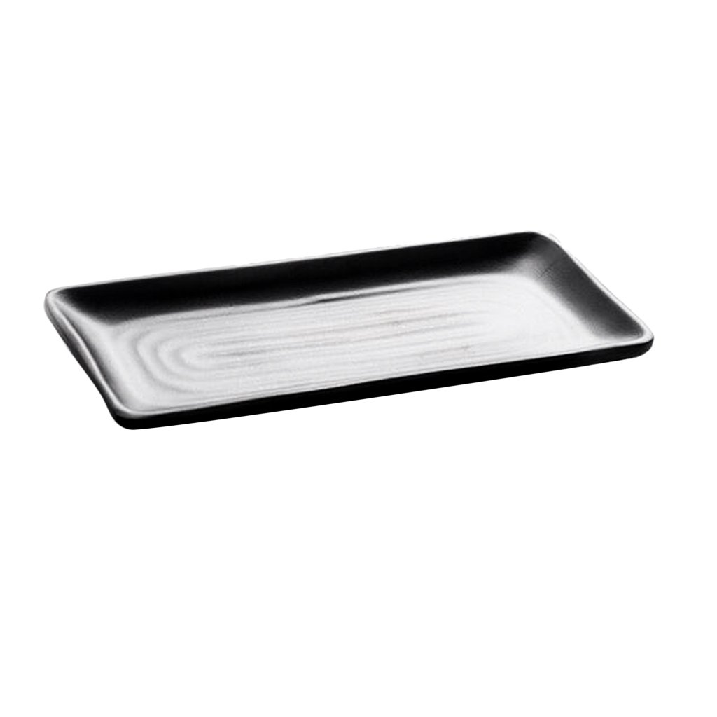 Homyl Hotel Rectangle Serving Tray Restaurant Coffee Shop Home Tableware Black - H 30x14.3x2.2cm