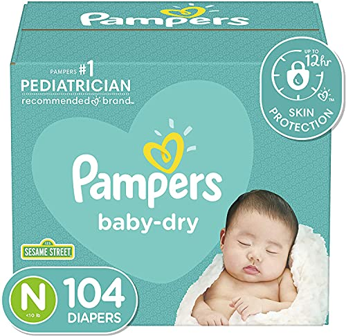 Diapers Size Newborn/Size 0 (< 10 lb), 104 Count - Pampers 0, Newborn