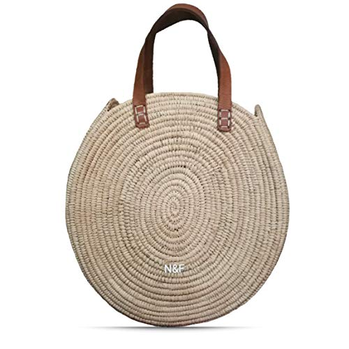 (Handmade Moroccan Rafia Basket Round French Market Bag Personalized)