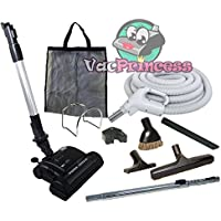 Galaxy Deluxe Central Vacuum Kit with Hose, Power Head & Wands - Works with all brands of central vacuum units (35, Black)