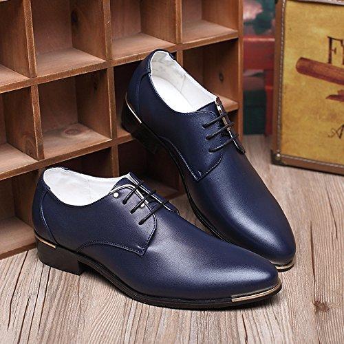 Men's Modern Blue Shoes Derby Red Blue Dress Black Up Oxford Classic Plain by Santimon Lace 5C6nrq5fwx
