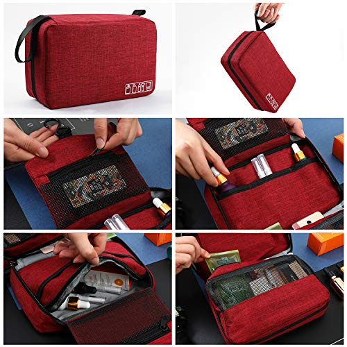 Mens Toiletry Bag Hanging Travel Shaving Dopp Kit Waterproof Organizer Bag Perfect Travel Accessory Gift (Red)