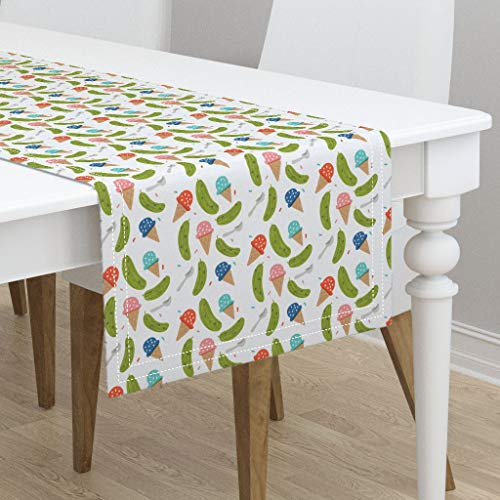 Table Runner - Ice Cream Pickles Pregnant Baby Shower Ice Cream and Pickles Food Mom by Ellolovey - Cotton Sateen Table Runner 16 x 90