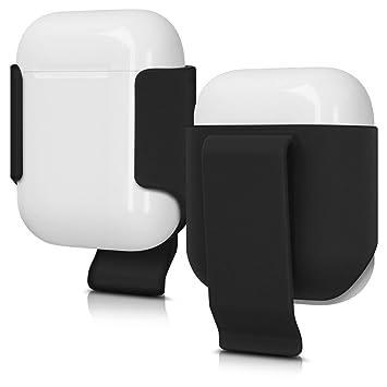 kwmobile Agarre de Clip para Apple AirPods - Sujeción de Correa para Cargador de Auriculares Apple - Case Holster para estación de Carga en Negro