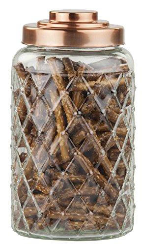 Home Basics GJ44502 Glass Jar with Copper Top, Large (Copper Flour)
