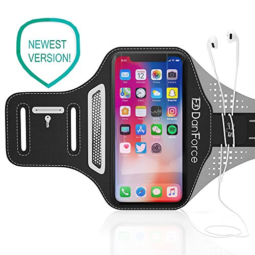 Black Mesh Sport Armband (IPhone X / 8 / 7 / 6S / 6 SPORTS Armband- Fingerprint Touch, Great for Running, Workouts or any Fitness Activity, Unique Hidden Pocket for Stores Cash, Cards and Keys. Fits smartphone 4.5