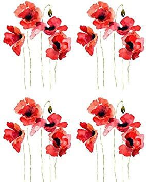 Tale of The Red Poppy - 41511 - Ceramic Decal - Enamel Decal - Glass Decal - Waterslide Decal - 3 Different Size Sheet (Images) to Choose from. Choose Either Ceramic (Enamel) or Glass Fusing Decals XpressionDecals
