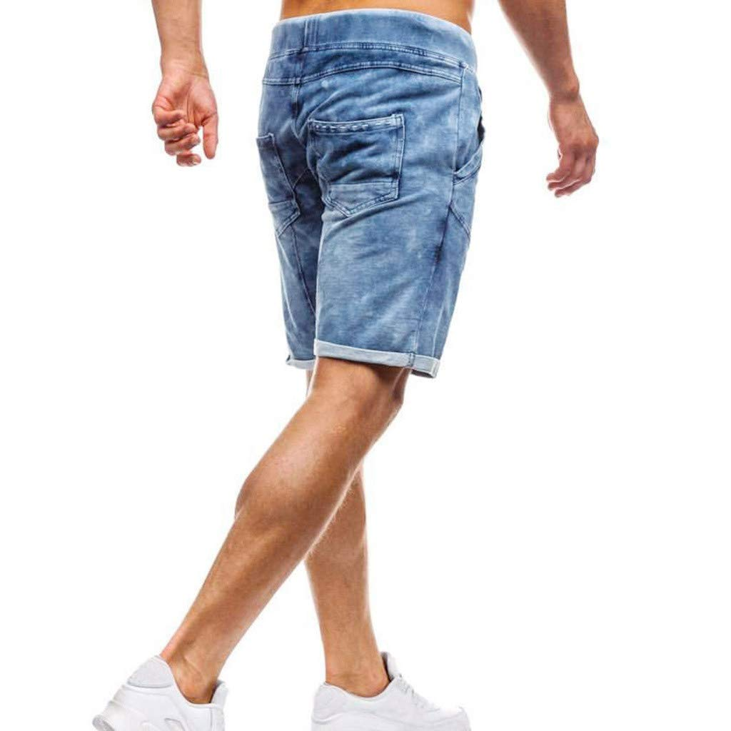 Bsjmlxg Fashion Mens Slim Biker Jeans Skinny Frayed Denim Pants Ripped Shorts Casual Party Beach