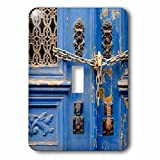 3dRose Danita Delimont - Lisbon - Portugal, Lisbon. Blue door, chain lock, Hand of Fatima door knockers. - Light Switch Covers - single toggle switch (lsp_249438_1)