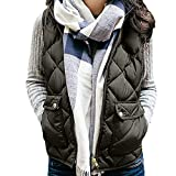 Mikey Store Women Sleeveless Lightweight Padded Zip Vest Quilted Gilet with Pocket (Medium, Green)