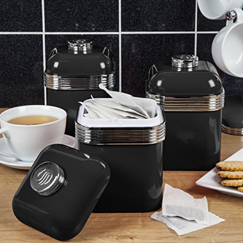 37d31dad267f Swan Retro Kitchen Storage Canisters, Iron, Black, Set of 3 - Buy ...