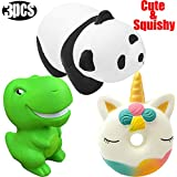 3 Pcs Squishy Dinosaur Panda Unicorn Donut Toys Kawaii Slow Rising Scented Animal Squishies Stress Relief Balls Kids Adults Squeeze Toy Novelty Gag Jumbo for Party Gift Collection Animal Vent Charms