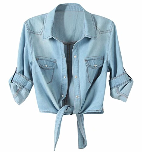 Shirt Top Denim (LATUD Women's Roll up Sleeves Crop Tie Top Denim Shawl Jeans Shirt Light Blue, US 14-16/Tag 5XL)