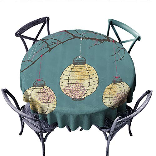 Lantern Decor Printed Circle Tablecloth Three Paper Lanterns Hanging On Branches Celebration Theme Boho Print Stain Resistant Wrinkle Tablecloth (Round, 54 Inch, Teal and Light Yellow)