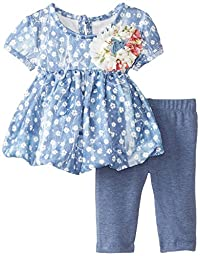Pippa & Julie Baby-Girls Newborn Chambray Floral Bubble Set, Multi, 0-3 Months
