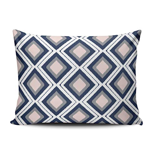 ONGING Decorative Pillowcases Pink Gray and White Blush and Navy Diamond Ikat Pattern Customizable Cushion Rectangle Boudoir Size 12x20 inch Throw Pillow Case Hidden Zipper One Side Design Printed