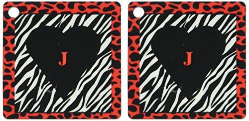 3d Rose 3dRose Red Letter J On Black Heart Inside Zebra P...
