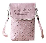 lg 2 mini accesories - YaJaMa Canvas Flower Women Shoulder Crossbody Bag Cellphone Pouch Purse Wallet (Pink)
