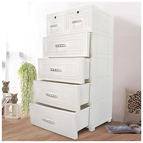 YUTING Kids Closet storage cabinet with 4 Drawers and 2 Storage Cabinets Easy-To-Assemble Plastic Thicker Clothes Closet & YUTING Kids Closet storage cabinet with 4 Drawers and 2 Storage ...
