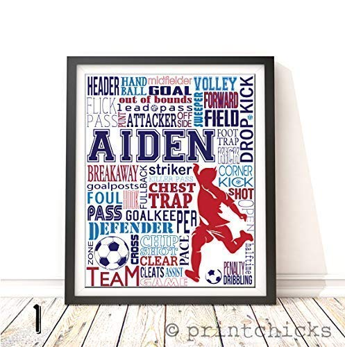 Soccer Typography Personalized Print - PrintChicks Wall Art Decor Poster Team - Framed Chicks