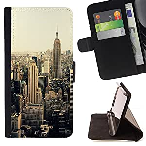For Samsung Galaxy S6 New York City Sepia Yellow Vignette Beautiful Print Wallet Leather Case Cover With Credit Card Slots And Stand Function