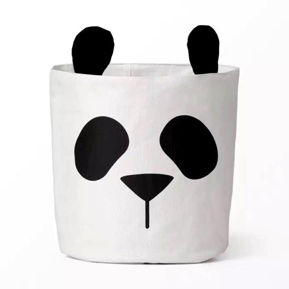 HILTOW Cartoon Panda Baby Canvas Bags Laundry Bags Basket Drawstring Toy Storage Bags