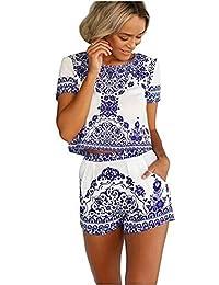 Women's China Porcelain Print Casual T-shirt Top and Short 2 Piece Set Beach Jumpsuit