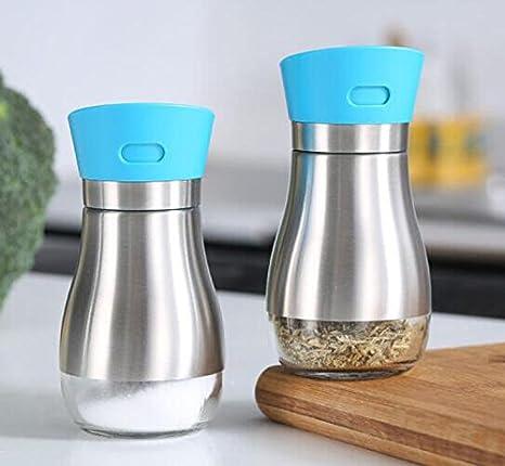DFHHG® Botella de pimienta de ricino Botella de pimienta de vidrio Latas de condimento Set