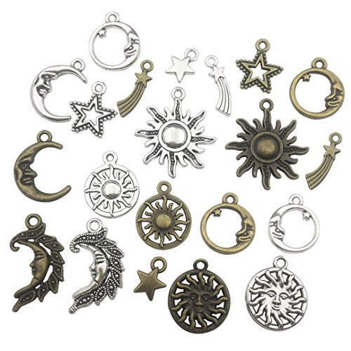 80 PCS Sun Moon Star Charms Collection - Mixed Antique Silver Bronze Metal Alloy Pendants for Jewelry Making DIY Findings (HM81)