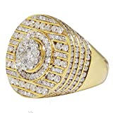 TVS-JEWELS Men's Solitaire With Accents Wedding Ring 14K Gold Plated 925 Sterling Silver (10)